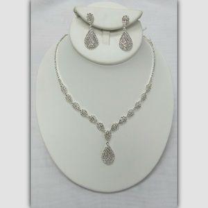 Rhinestone Crystal Teardrop Bridal Necklace Set